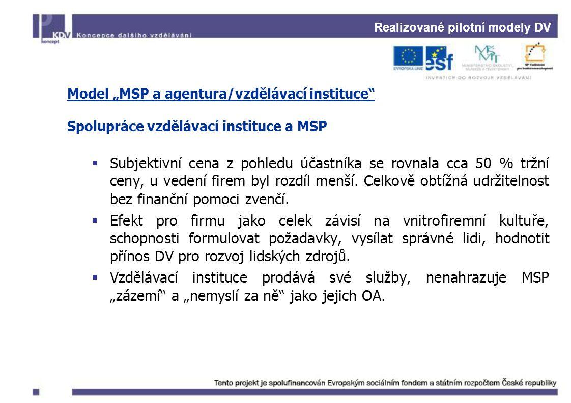 """Realizované pilotní modely DV Model """"MSP a agentura/vzdělávací instituce"""" Spolupráce vzdělávací instituce a MSP  Subjektivní cena z pohledu účastníka"""