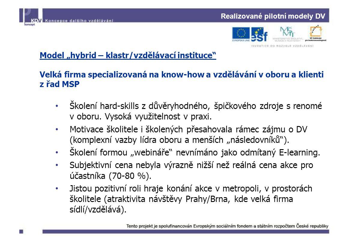 """Realizované pilotní modely DV Model """"hybrid – klastr/vzdělávací instituce"""" Velká firma specializovaná na know-how a vzdělávání v oboru a klienti z řad"""