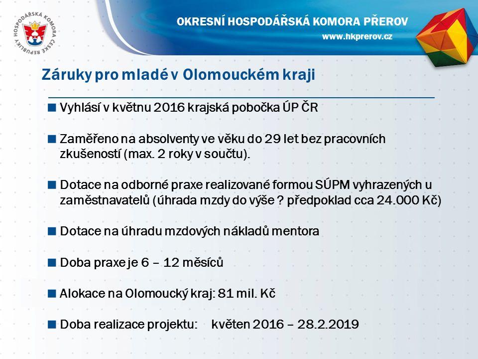 ■ Vyhlásí v květnu 2016 krajská pobočka ÚP ČR ■ Zaměřeno na absolventy ve věku do 29 let bez pracovních zkušeností (max.