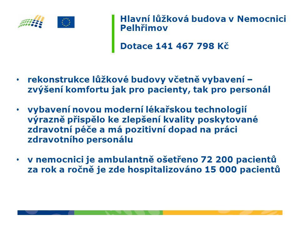 Hlavní lůžková budova v Nemocnici Pelhřimov Dotace 141 467 798 Kč rekonstrukce lůžkové budovy včetně vybavení – zvýšení komfortu jak pro pacienty, tak