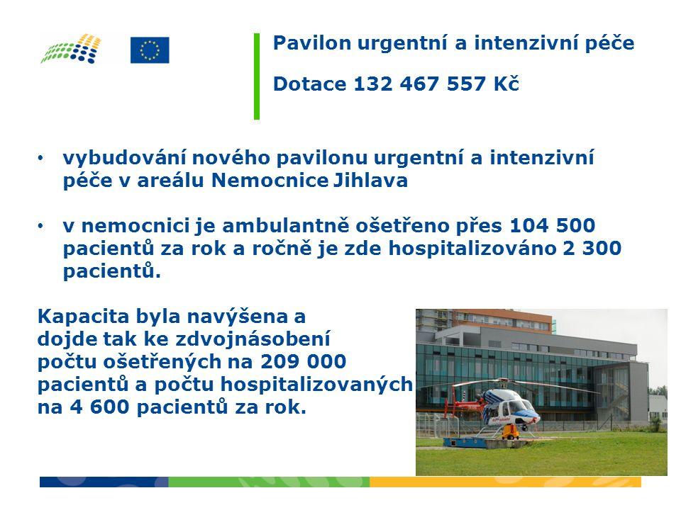 Pavilon urgentní a intenzivní péče Dotace 132 467 557 Kč vybudování nového pavilonu urgentní a intenzivní péče v areálu Nemocnice Jihlava v nemocnici