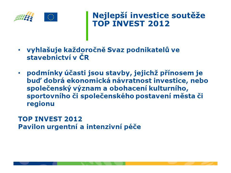 Nejlepší investice soutěže TOP INVEST 2012 vyhlašuje každoročně Svaz podnikatelů ve stavebnictví v ČR podmínky účasti jsou stavby, jejichž přínosem je