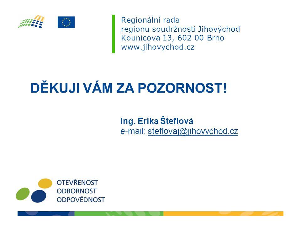 Regionální rada regionu soudržnosti Jihovýchod Kounicova 13, 602 00 Brno www.jihovychod.cz DĚKUJI VÁM ZA POZORNOST! Ing. Erika Šteflová e-mail: steflo