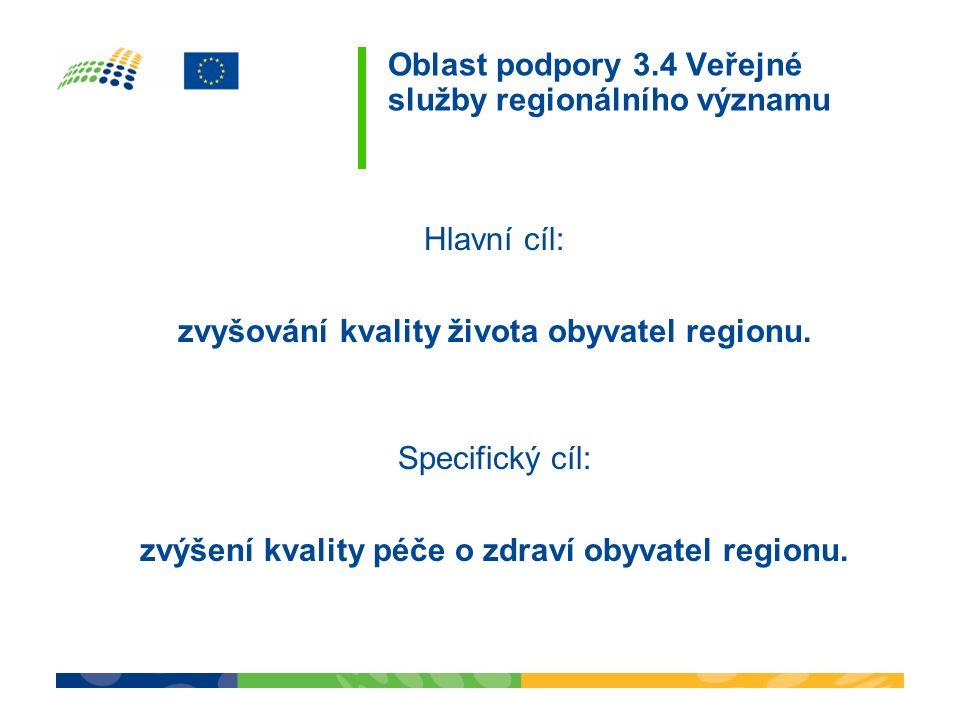 Hlavní cíl: zvyšování kvality života obyvatel regionu. Specifický cíl: zvýšení kvality péče o zdraví obyvatel regionu. Oblast podpory 3.4 Veřejné služ