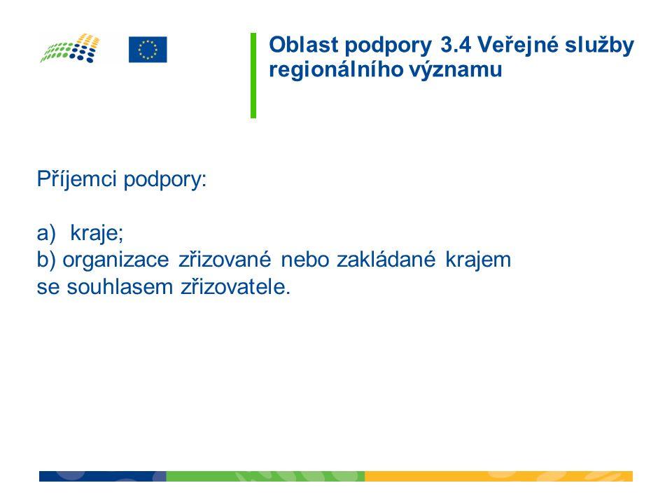 Oblast podpory 3.4 Veřejné služby regionálního významu Příspěvek ERDF 36,08 mil.