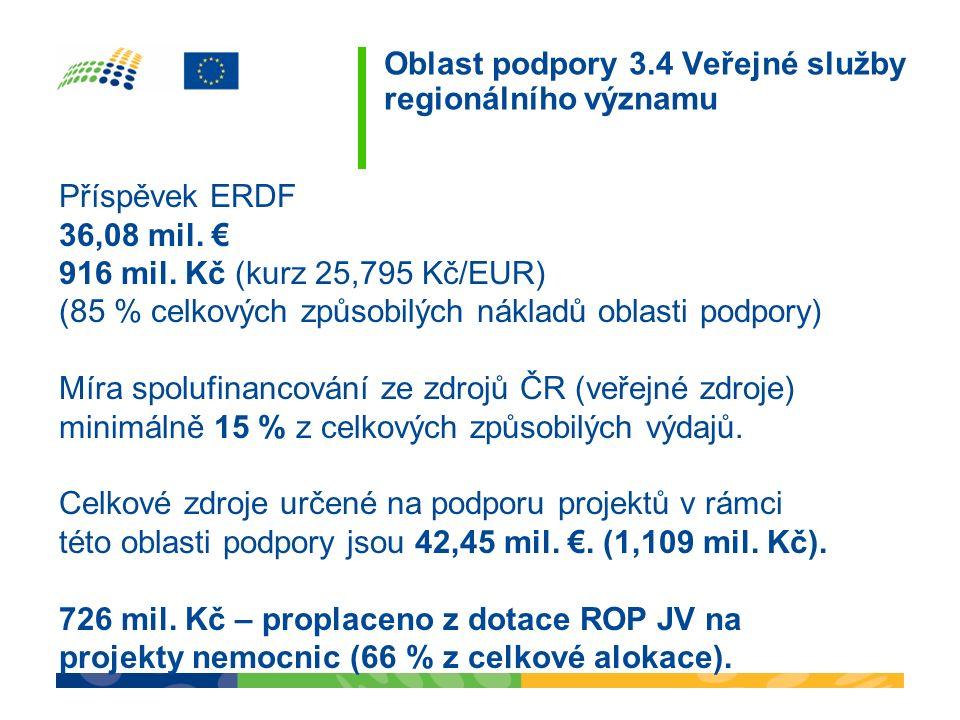 Oblast podpory 3.4 Veřejné služby regionálního významu Příspěvek ERDF 36,08 mil. € 916 mil. Kč (kurz 25,795 Kč/EUR) (85 % celkových způsobilých náklad