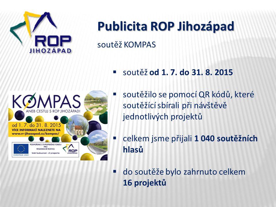 Publicita ROP Jihozápad  soutěž od 1. 7. do 31. 8. 2015  soutěžilo se pomocí QR kódů, které soutěžící sbírali při návštěvě jednotlivých projektů  c