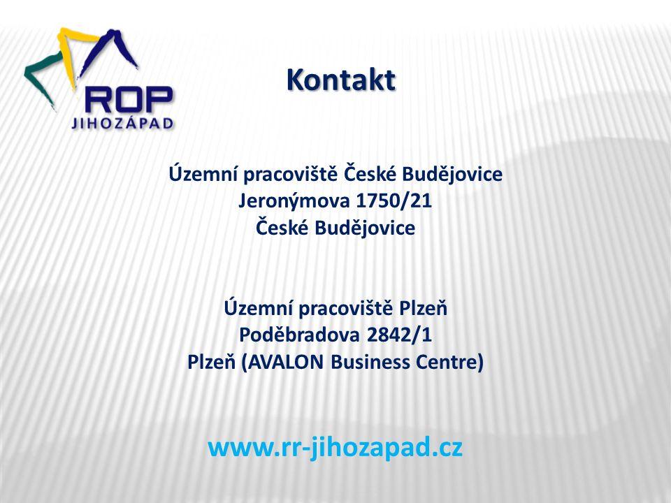 Kontakt Územní pracoviště České Budějovice Jeronýmova 1750/21 České Budějovice Územní pracoviště Plzeň Poděbradova 2842/1 Plzeň (AVALON Business Centre) www.rr-jihozapad.cz