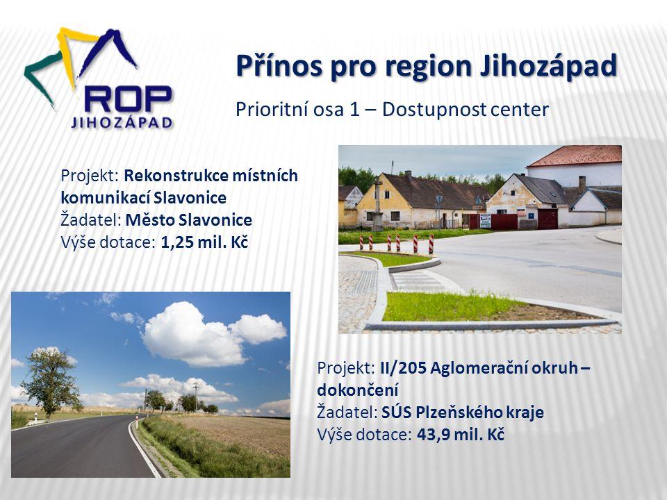 Přínos pro region Jihozápad Projekt: Rekonstrukce místních komunikací Slavonice Žadatel: Město Slavonice Výše dotace: 1,25 mil.