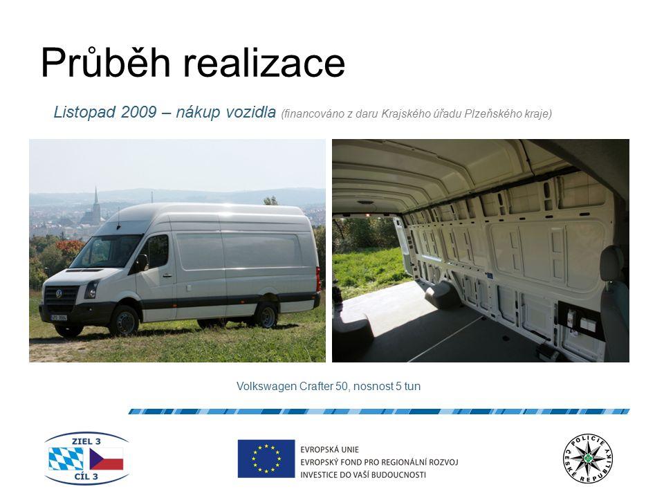 Průběh realizace Listopad 2009 – nákup vozidla (financováno z daru Krajského úřadu Plzeňského kraje) Volkswagen Crafter 50, nosnost 5 tun