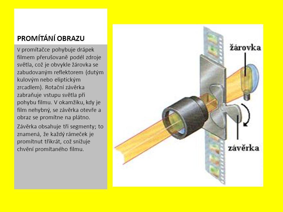V promítačce pohybuje drápek filmem přerušovaně podél zdroje světla, což je obvykle žárovka se zabudovaným reflektorem (dutým kulovým nebo eliptickým zrcadlem).