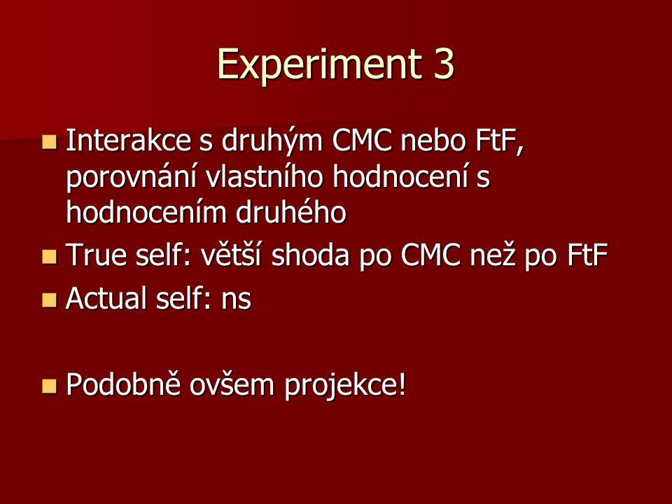 Experiment 3 Interakce s druhým CMC nebo FtF, porovnání vlastního hodnocení s hodnocením druhého Interakce s druhým CMC nebo FtF, porovnání vlastního hodnocení s hodnocením druhého True self: větší shoda po CMC než po FtF True self: větší shoda po CMC než po FtF Actual self: ns Actual self: ns Podobně ovšem projekce.