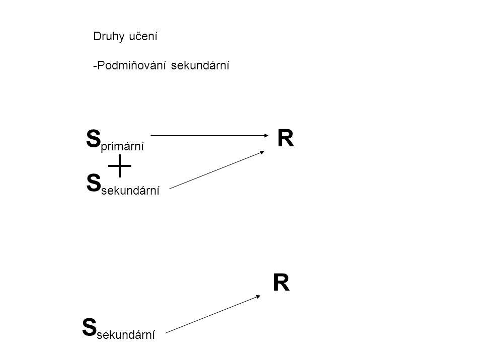 Druhy učení -Podmiňování sekundární S primární R S sekundární R S