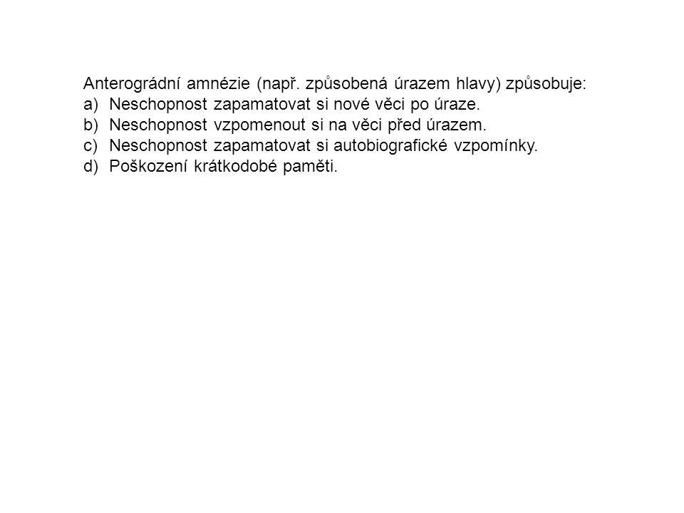 Anterográdní amnézie (např.