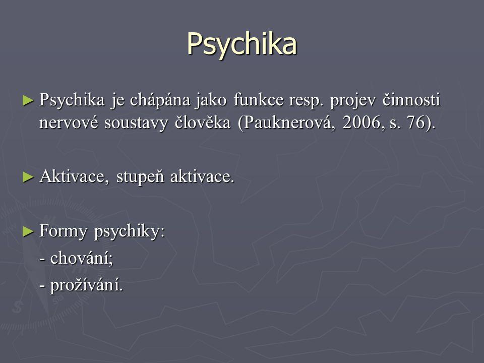 Psychika ► Psychika je chápána jako funkce resp.