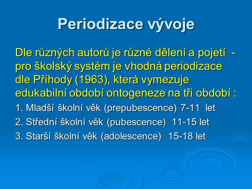Periodizace vývoje Dle různých autorů je různé dělení a pojetí - pro školský systém je vhodná periodizace dle Příhody (1963), která vymezuje edukabilní období ontogeneze na tři období : 1.
