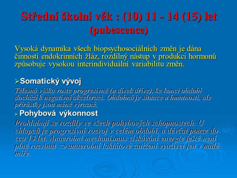 Střední školní věk : (10) 11 - 14 (15) let (pubescence) Vysoká dynamika všech biopsychosociálních změn je dána činností endokrinních žláz, rozdílný nástup v produkci hormonů způsobuje vysokou interindividuální variabilitu změn.