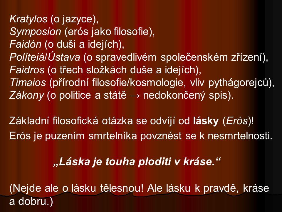 Kratylos (o jazyce), Symposion (erós jako filosofie), Faidón (o duši a idejích), Políteiá/Ústava (o spravedlivém společenském zřízení), Faidros (o tře