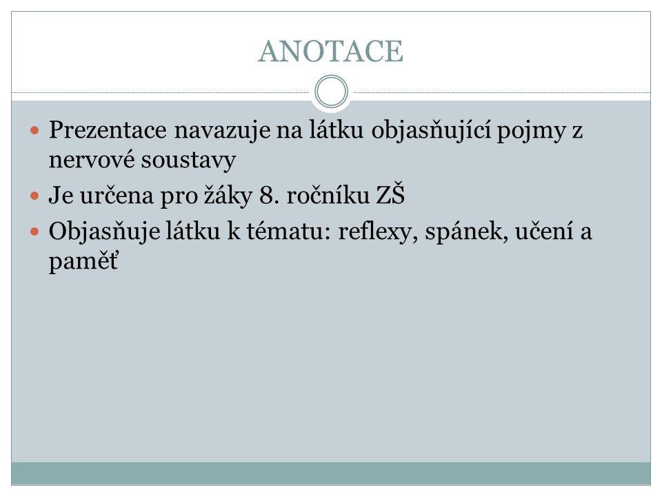 ANOTACE Prezentace navazuje na látku objasňující pojmy z nervové soustavy Je určena pro žáky 8.