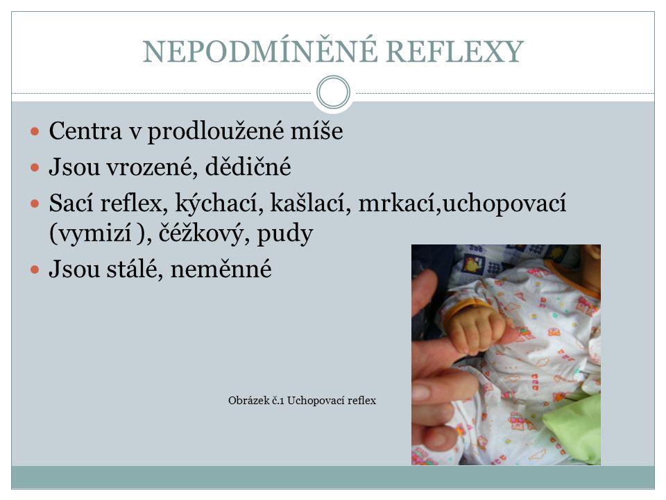 NEPODMÍNĚNÉ REFLEXY Centra v prodloužené míše Jsou vrozené, dědičné Sací reflex, kýchací, kašlací, mrkací,uchopovací (vymizí ), čéžkový, pudy Jsou stálé, neměnné Obrázek č.1 Uchopovací reflex