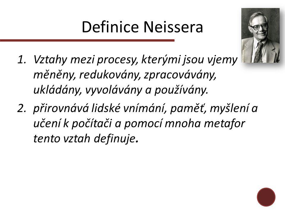 Definice Neissera 1.Vztahy mezi procesy, kterými jsou vjemy měněny, redukovány, zpracovávány, ukládány, vyvolávány a používány. 2.přirovnává lidské vn