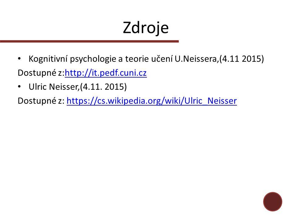 Zdroje Kognitivní psychologie a teorie učení U.Neissera,(4.11 2015) Dostupné z:http://it.pedf.cuni.czhttp://it.pedf.cuni.cz Ulric Neisser,(4.11. 2015)