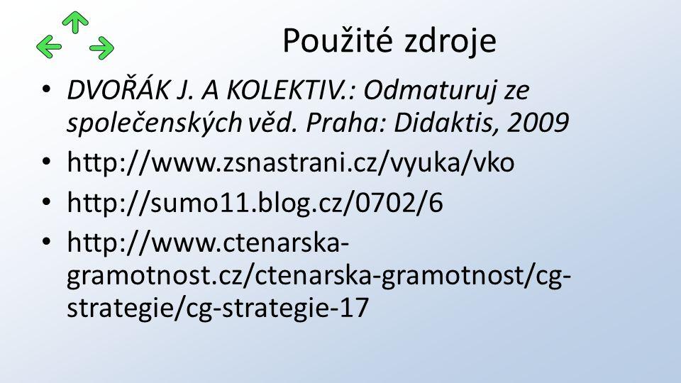DVOŘÁK J. A KOLEKTIV.: Odmaturuj ze společenských věd. Praha: Didaktis, 2009 http://www.zsnastrani.cz/vyuka/vko http://sumo11.blog.cz/0702/6 http://ww