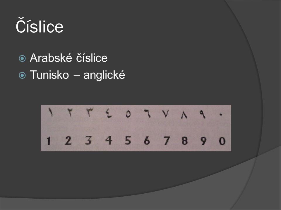 Číslice  Arabské číslice  Tunisko – anglické