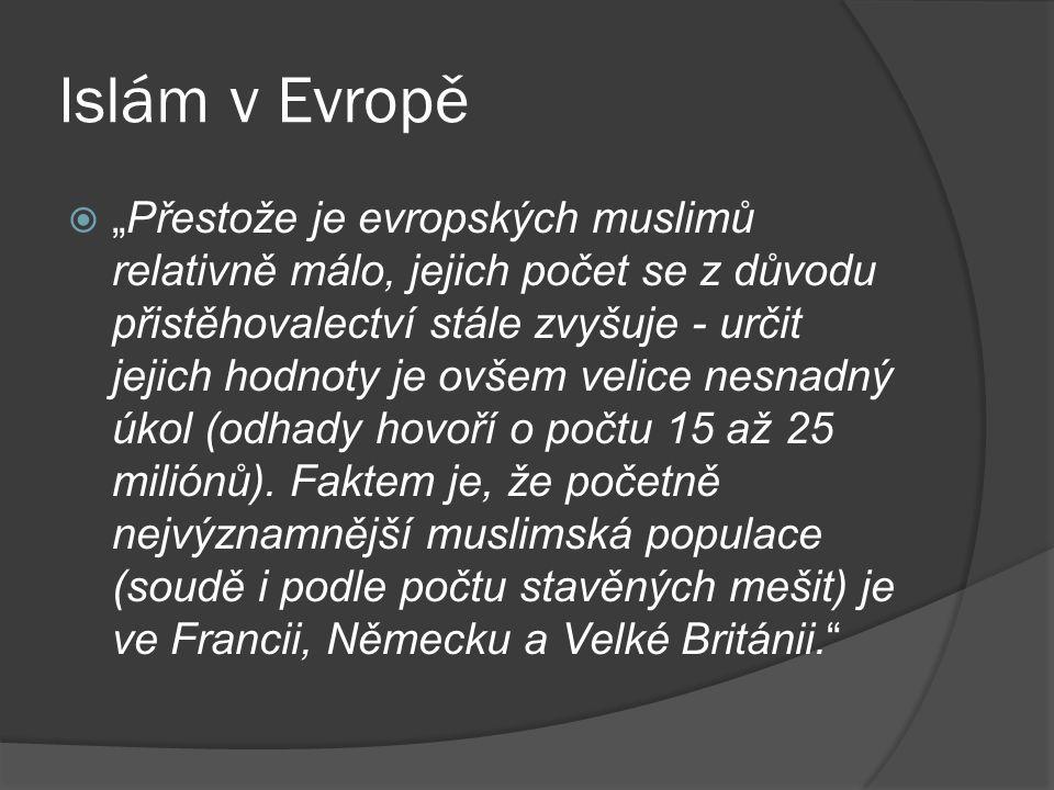 """Islám v Evropě  """"Přestože je evropských muslimů relativně málo, jejich počet se z důvodu přistěhovalectví stále zvyšuje - určit jejich hodnoty je ovš"""