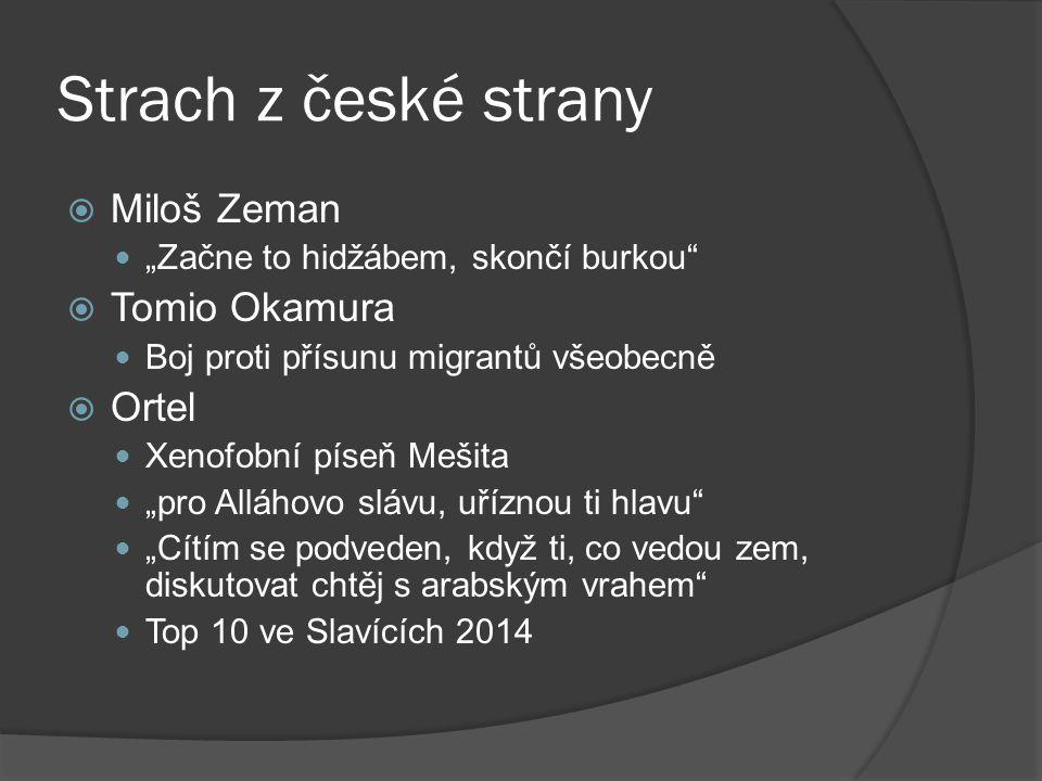 """Strach z české strany  Miloš Zeman """"Začne to hidžábem, skončí burkou""""  Tomio Okamura Boj proti přísunu migrantů všeobecně  Ortel Xenofobní píseň Me"""