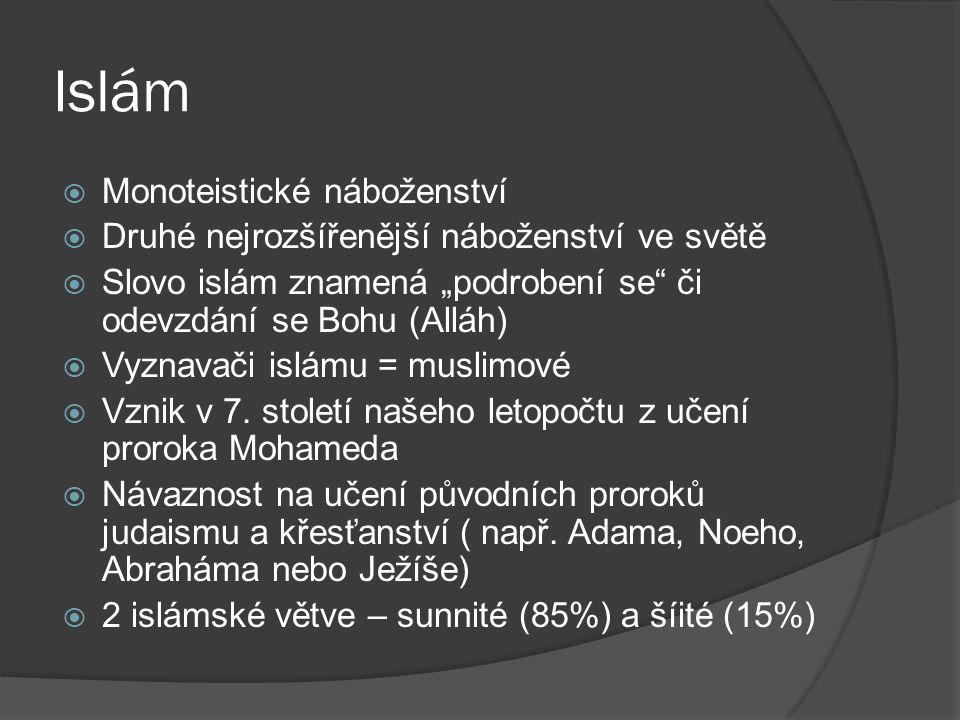 """Islám  Monoteistické náboženství  Druhé nejrozšířenější náboženství ve světě  Slovo islám znamená """"podrobení se"""" či odevzdání se Bohu (Alláh)  Vyz"""