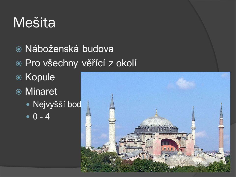 Mešita  Náboženská budova  Pro všechny věřící z okolí  Kopule  Minaret Nejvyšší bod 0 - 4