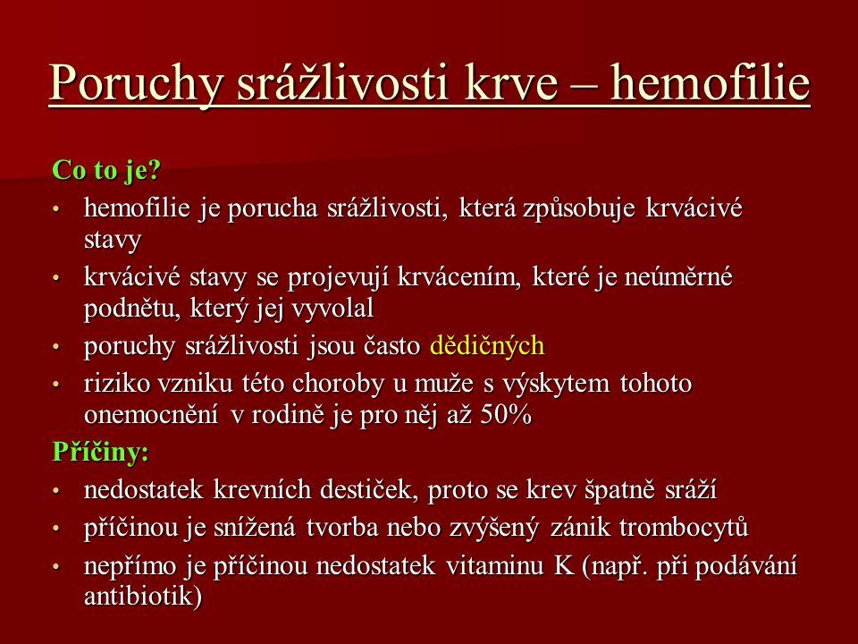 Poruchy srážlivosti krve – hemofilie Co to je.
