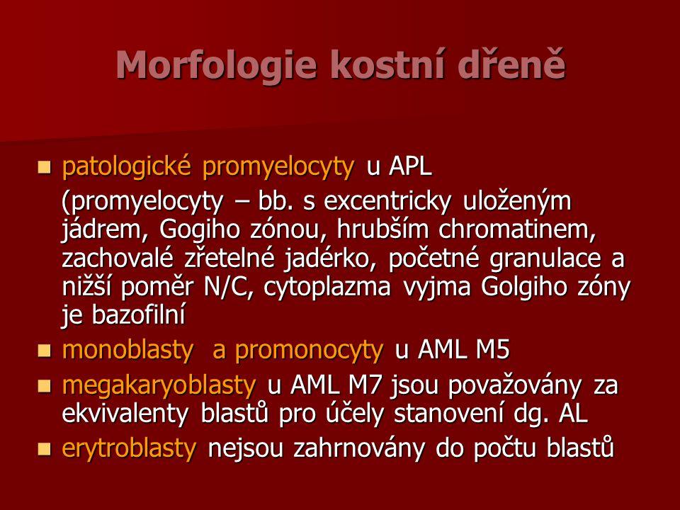 Morfologie kostní dřeně patologické promyelocyty u APL patologické promyelocyty u APL (promyelocyty – bb.