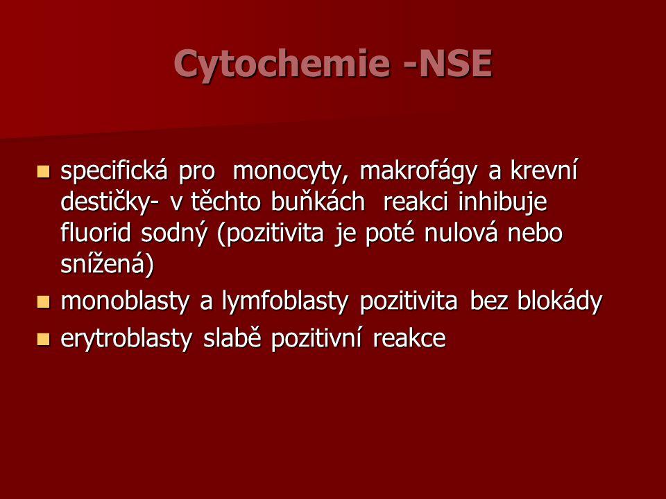 Cytochemie -NSE specifická pro monocyty, makrofágy a krevní destičky- v těchto buňkách reakci inhibuje fluorid sodný (pozitivita je poté nulová nebo snížená) specifická pro monocyty, makrofágy a krevní destičky- v těchto buňkách reakci inhibuje fluorid sodný (pozitivita je poté nulová nebo snížená) monoblasty a lymfoblasty pozitivita bez blokády monoblasty a lymfoblasty pozitivita bez blokády erytroblasty slabě pozitivní reakce erytroblasty slabě pozitivní reakce