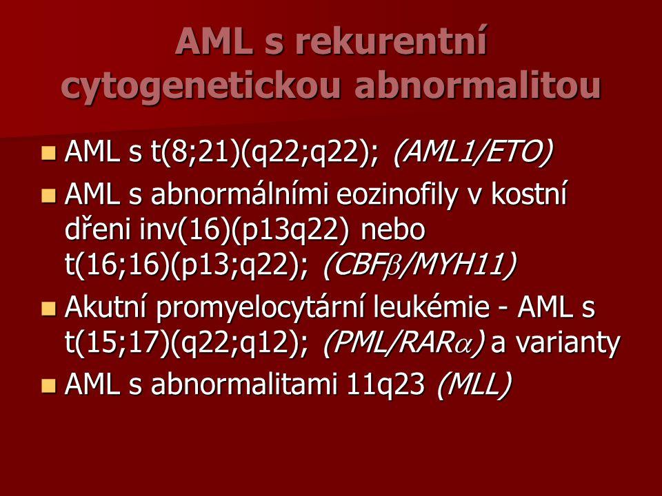 AML s rekurentní cytogenetickou abnormalitou AML s t(8;21)(q22;q22); (AML1/ETO) AML s t(8;21)(q22;q22); (AML1/ETO) AML s abnormálními eozinofily v kostní dřeni inv(16)(p13q22) nebo t(16;16)(p13;q22); (CBF  /MYH11) AML s abnormálními eozinofily v kostní dřeni inv(16)(p13q22) nebo t(16;16)(p13;q22); (CBF  /MYH11) Akutní promyelocytární leukémie - AML s t(15;17)(q22;q12); (PML/RAR  ) a varianty Akutní promyelocytární leukémie - AML s t(15;17)(q22;q12); (PML/RAR  ) a varianty AML s abnormalitami 11q23 (MLL) AML s abnormalitami 11q23 (MLL)