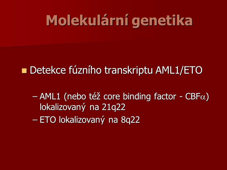 Molekulární genetika Detekce fúzního transkriptu AML1/ETO Detekce fúzního transkriptu AML1/ETO –AML1 (nebo též core binding factor - CBF  ) lokalizovaný na 21q22 –ETO lokalizovaný na 8q22