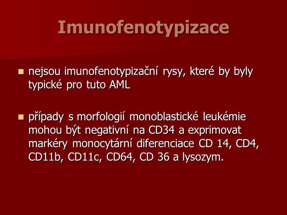 Imunofenotypizace nejsou imunofenotypizační rysy, které by byly typické pro tuto AML nejsou imunofenotypizační rysy, které by byly typické pro tuto AML případy s morfologií monoblastické leukémie mohou být negativní na CD34 a exprimovat markéry monocytární diferenciace CD 14, CD4, CD11b, CD11c, CD64, CD 36 a lysozym.