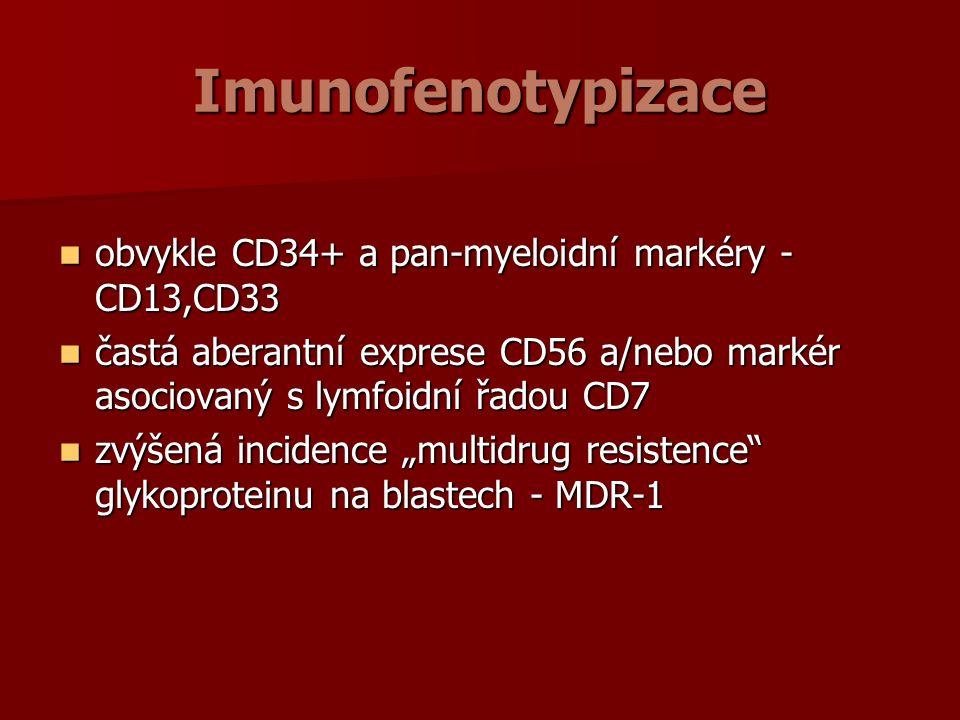 """Imunofenotypizace obvykle CD34+ a pan-myeloidní markéry - CD13,CD33 obvykle CD34+ a pan-myeloidní markéry - CD13,CD33 častá aberantní exprese CD56 a/nebo markér asociovaný s lymfoidní řadou CD7 častá aberantní exprese CD56 a/nebo markér asociovaný s lymfoidní řadou CD7 zvýšená incidence """"multidrug resistence glykoproteinu na blastech - MDR-1 zvýšená incidence """"multidrug resistence glykoproteinu na blastech - MDR-1"""