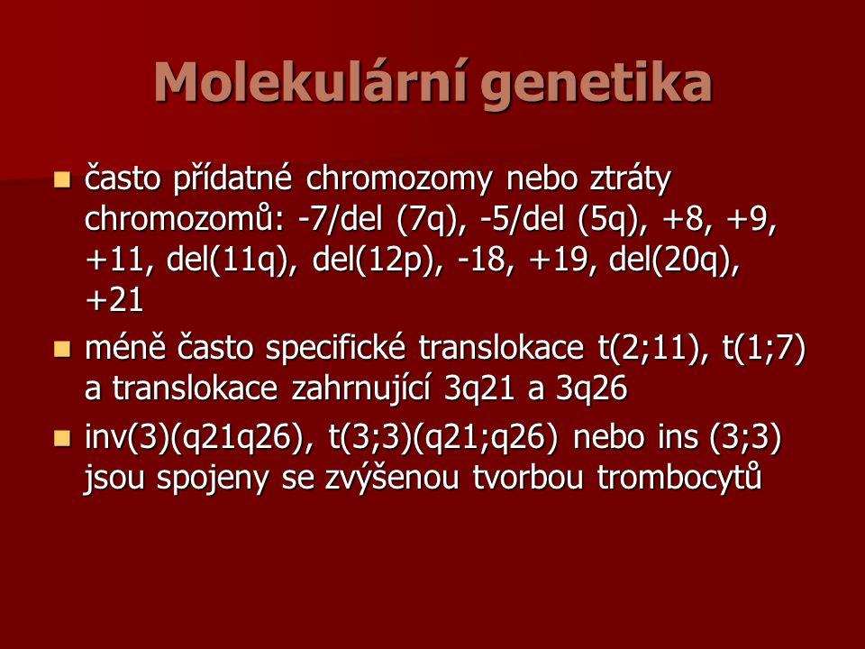 Molekulární genetika často přídatné chromozomy nebo ztráty chromozomů: -7/del (7q), -5/del (5q), +8, +9, +11, del(11q), del(12p), -18, +19, del(20q), +21 často přídatné chromozomy nebo ztráty chromozomů: -7/del (7q), -5/del (5q), +8, +9, +11, del(11q), del(12p), -18, +19, del(20q), +21 méně často specifické translokace t(2;11), t(1;7) a translokace zahrnující 3q21 a 3q26 méně často specifické translokace t(2;11), t(1;7) a translokace zahrnující 3q21 a 3q26 inv(3)(q21q26), t(3;3)(q21;q26) nebo ins (3;3) jsou spojeny se zvýšenou tvorbou trombocytů inv(3)(q21q26), t(3;3)(q21;q26) nebo ins (3;3) jsou spojeny se zvýšenou tvorbou trombocytů