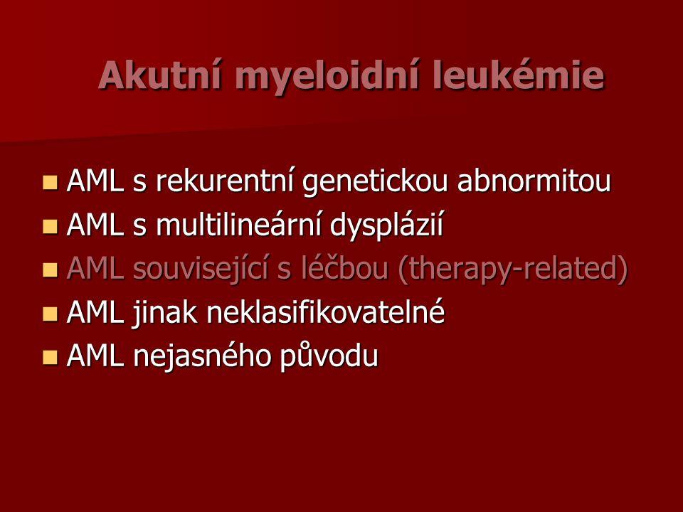 Akutní myeloidní leukémie Akutní myeloidní leukémie AML s rekurentní genetickou abnormitou AML s rekurentní genetickou abnormitou AML s multilineární dysplázií AML s multilineární dysplázií AML související s léčbou (therapy-related) AML související s léčbou (therapy-related) AML jinak neklasifikovatelné AML jinak neklasifikovatelné AML nejasného původu AML nejasného původu