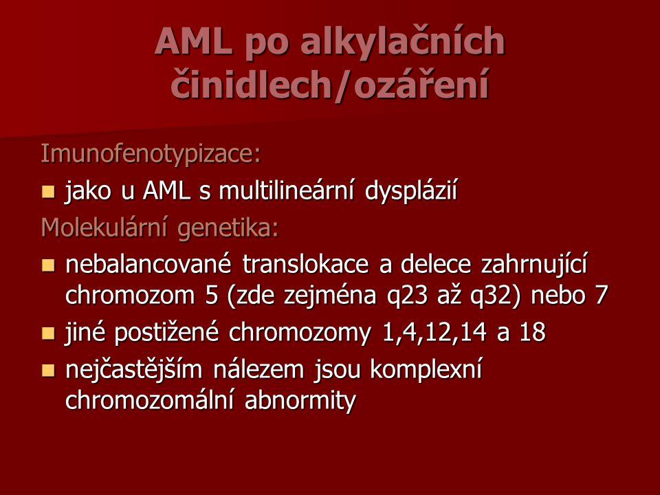 AML po alkylačních činidlech/ozáření Imunofenotypizace: jako u AML s multilineární dysplázií jako u AML s multilineární dysplázií Molekulární genetika: nebalancované translokace a delece zahrnující chromozom 5 (zde zejména q23 až q32) nebo 7 nebalancované translokace a delece zahrnující chromozom 5 (zde zejména q23 až q32) nebo 7 jiné postižené chromozomy 1,4,12,14 a 18 jiné postižené chromozomy 1,4,12,14 a 18 nejčastějším nálezem jsou komplexní chromozomální abnormity nejčastějším nálezem jsou komplexní chromozomální abnormity