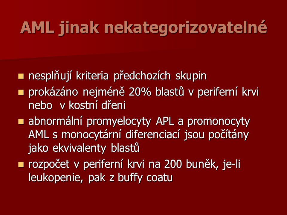 AML jinak nekategorizovatelné nesplňují kriteria předchozích skupin nesplňují kriteria předchozích skupin prokázáno nejméně 20% blastů v periferní krvi nebo v kostní dřeni prokázáno nejméně 20% blastů v periferní krvi nebo v kostní dřeni abnormální promyelocyty APL a promonocyty AML s monocytární diferenciací jsou počítány jako ekvivalenty blastů abnormální promyelocyty APL a promonocyty AML s monocytární diferenciací jsou počítány jako ekvivalenty blastů rozpočet v periferní krvi na 200 buněk, je-li leukopenie, pak z buffy coatu rozpočet v periferní krvi na 200 buněk, je-li leukopenie, pak z buffy coatu