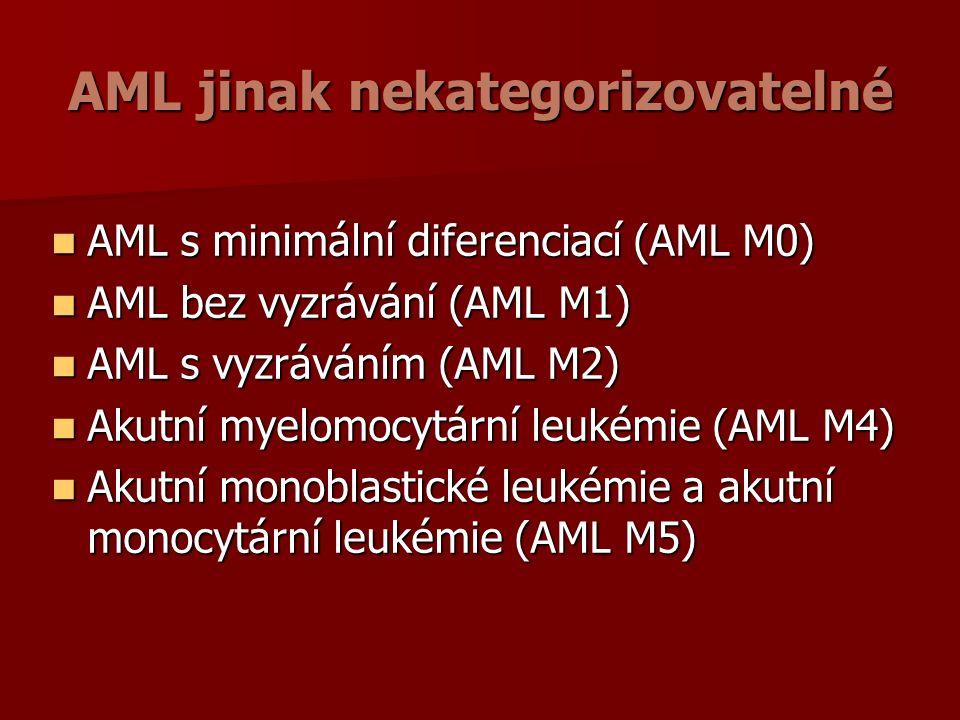 AML jinak nekategorizovatelné AML s minimální diferenciací (AML M0) AML s minimální diferenciací (AML M0) AML bez vyzrávání (AML M1) AML bez vyzrávání (AML M1) AML s vyzráváním (AML M2) AML s vyzráváním (AML M2) Akutní myelomocytární leukémie (AML M4) Akutní myelomocytární leukémie (AML M4) Akutní monoblastické leukémie a akutní monocytární leukémie (AML M5) Akutní monoblastické leukémie a akutní monocytární leukémie (AML M5)
