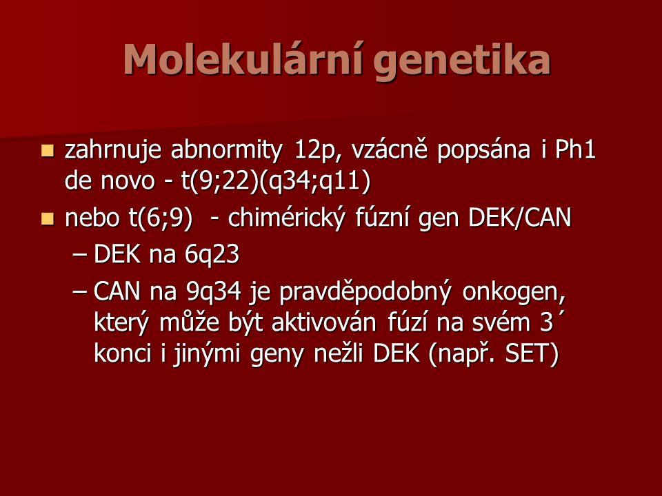 Molekulární genetika zahrnuje abnormity 12p, vzácně popsána i Ph1 de novo - t(9;22)(q34;q11) zahrnuje abnormity 12p, vzácně popsána i Ph1 de novo - t(9;22)(q34;q11) nebo t(6;9) - chimérický fúzní gen DEK/CAN nebo t(6;9) - chimérický fúzní gen DEK/CAN –DEK na 6q23 –CAN na 9q34 je pravděpodobný onkogen, který může být aktivován fúzí na svém 3´ konci i jinými geny nežli DEK (např.