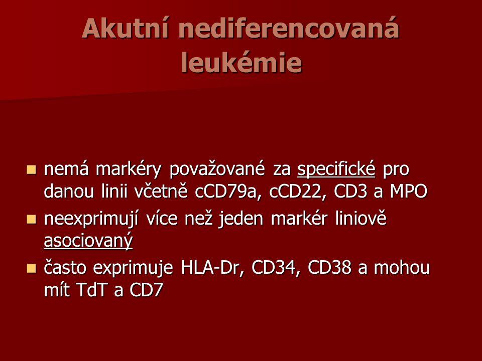 Akutní nediferencovaná leukémie nemá markéry považované za specifické pro danou linii včetně cCD79a, cCD22, CD3 a MPO nemá markéry považované za specifické pro danou linii včetně cCD79a, cCD22, CD3 a MPO neexprimují více než jeden markér liniově asociovaný neexprimují více než jeden markér liniově asociovaný často exprimuje HLA-Dr, CD34, CD38 a mohou mít TdT a CD7 často exprimuje HLA-Dr, CD34, CD38 a mohou mít TdT a CD7