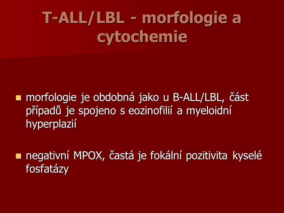 T-ALL/LBL - morfologie a cytochemie morfologie je obdobná jako u B-ALL/LBL, část případů je spojeno s eozinofilií a myeloidní hyperplazií morfologie je obdobná jako u B-ALL/LBL, část případů je spojeno s eozinofilií a myeloidní hyperplazií negativní MPOX, častá je fokální pozitivita kyselé fosfatázy negativní MPOX, častá je fokální pozitivita kyselé fosfatázy