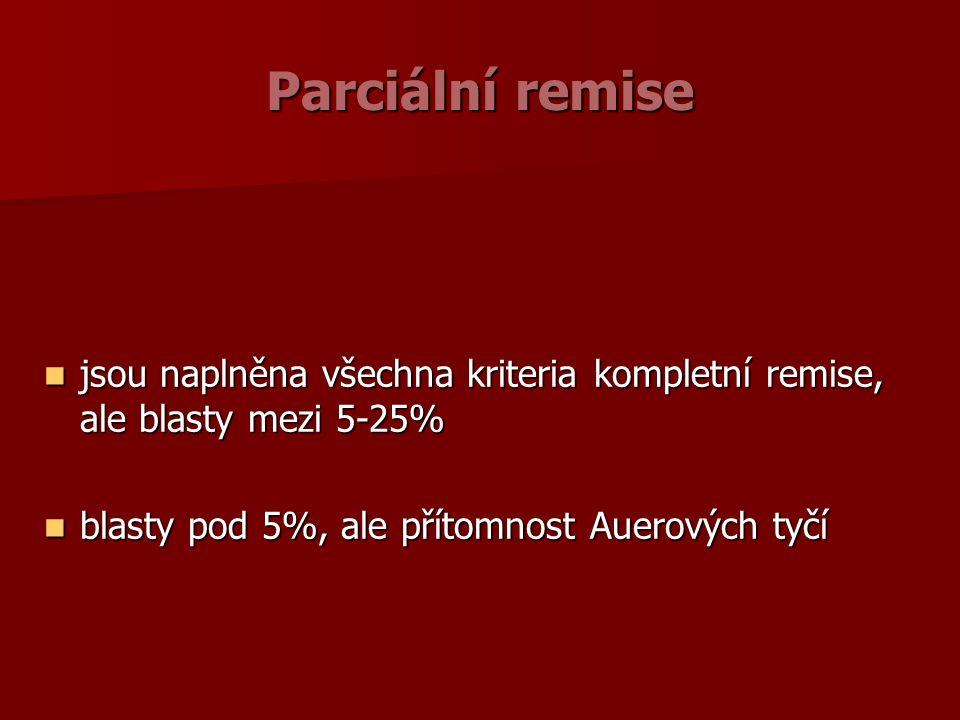 Parciální remise jsou naplněna všechna kriteria kompletní remise, ale blasty mezi 5-25% jsou naplněna všechna kriteria kompletní remise, ale blasty mezi 5-25% blasty pod 5%, ale přítomnost Auerových tyčí blasty pod 5%, ale přítomnost Auerových tyčí