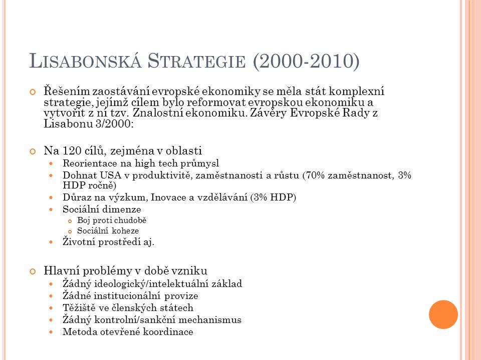 L ISABONSKÁ S TRATEGIE (2000-2010) Řešením zaostávání evropské ekonomiky se měla stát komplexní strategie, jejímž cílem bylo reformovat evropskou ekonomiku a vytvořit z ní tzv.