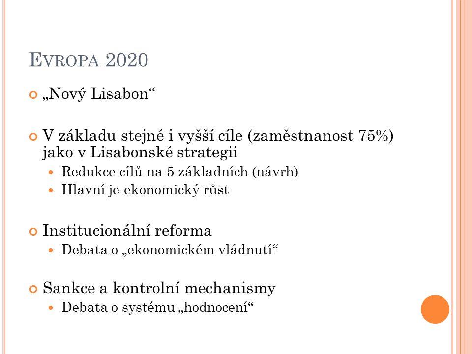 """E VROPA 2020 """"Nový Lisabon V základu stejné i vyšší cíle (zaměstnanost 75%) jako v Lisabonské strategii Redukce cílů na 5 základních (návrh) Hlavní je ekonomický růst Institucionální reforma Debata o """"ekonomickém vládnutí Sankce a kontrolní mechanismy Debata o systému """"hodnocení"""